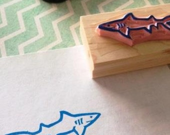 Shark rubber stamp - hand carved & hand crafted