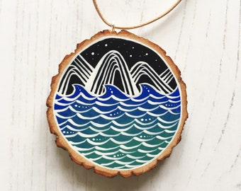 Hand Painted Wooden Slice Pendant Necklace - Ocean and Mountains