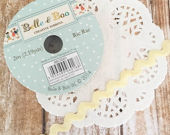 Yellow Ric Rac Ribbon Spool - 2m Belle & Boo - 10mm wide - Dovecraft