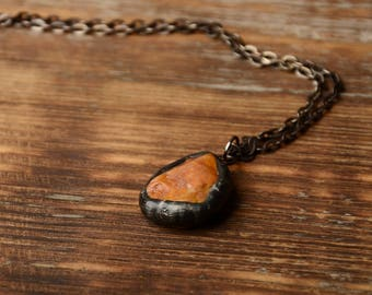 minimalistic natural rock necklace sea stone jewelry tin copper jewelry summer necklace