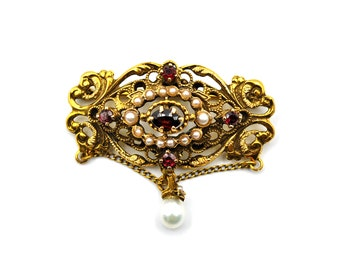 14k Yellow Gold Garnet Pearl Accent Vintage Brooch #263618915214