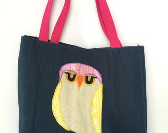 Blue Tote Bag with Owl