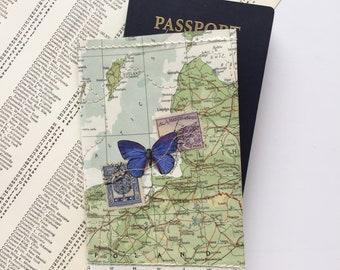 Vintage Map & Vinyl - Passport Cover