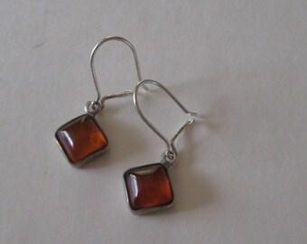 Dress Up Your Ear Amber Sterling Silver Artist Earrings