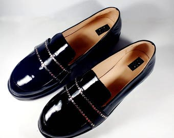 Patent leather loafers, black leather slippers, women leather shoes, studded black leather shoes, comfortable shoes