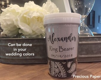 Personalized ring bearer kids sippy cups ring bearer sippy cups ring bearer gift, ring bearer cup, paisley cup for kids