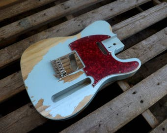 Canadian White Ponderosa Heavy Relic Baby Blue Vintage Tele body fits oem nitrocellouse finish vintage telecaster guitar body