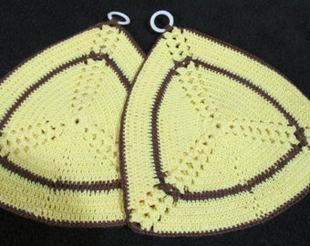 Vintage Hand Crochet Hot Pads Pot Holders Yellow and Brown