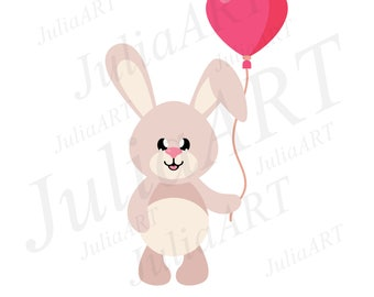 Cartoon cute bunny with balloon vector image