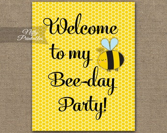 Bumble Bee Birthday Sign - Printable Bumble Bee Birthday Decorations - Bumble Bee Welcome Sign - Bee Party Decor - Instant Download BEE