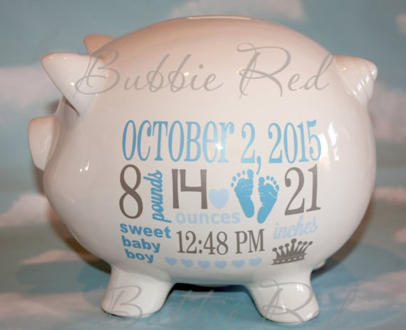 personalized piggy bank baby boy piggy bank baby birth stats