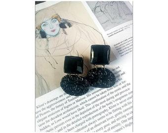 Earrings black unique Earring-big Statement black earring Bohemian earring large Fashion black jewelry Earring-geometrical Earring-art
