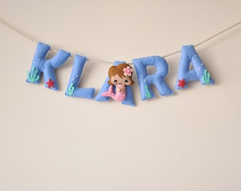 Felt name banner fruit nursery decor personalized gift baby felt name banner mermaid nursery decor personalized gift baby felt letters child room baby name garland custom felt name made to order negle Image collections