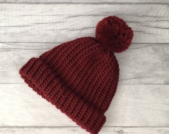 Red 'wine' knitted hat, beanie hat, gifts for husband, woollen hat, mens accessories, etsyuk, burgundy hat, mens wool hat, mother day gift