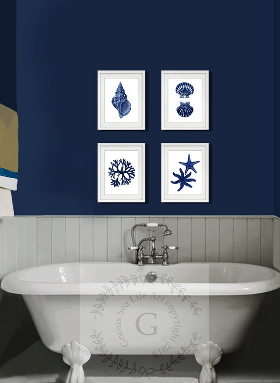 Coastal Wall Decor Part - 35: Coastal Wall Decor Navy Blue Wall Art Set Of 4 Beach Decor
