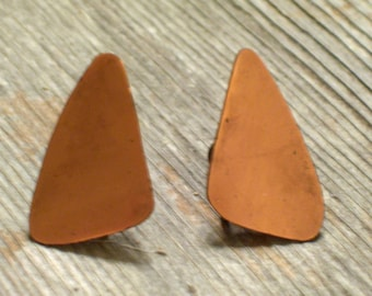 Vintage Copper Modernist Abstract Screwback Earrings