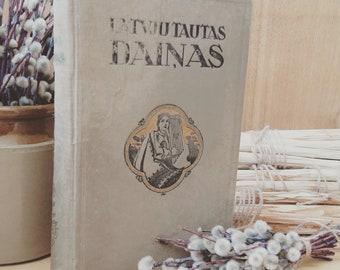 antique folk songs book native Latvian old book Latvju tautas dainas 1930 s edition Latvia vintage collectible Latvijai 100