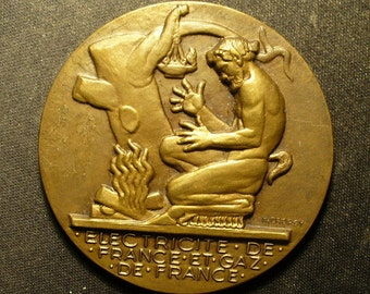 France Inscribed Electricity Medal by Dropsy