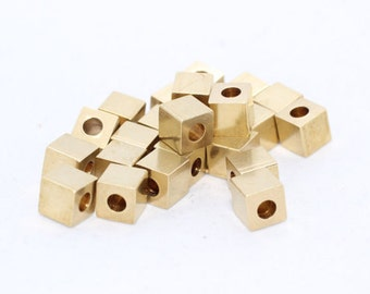 6mm Raw Brass Cube Beads, Solid Brass Cube Beads, industrial spacer, Spacer Beads, KA42