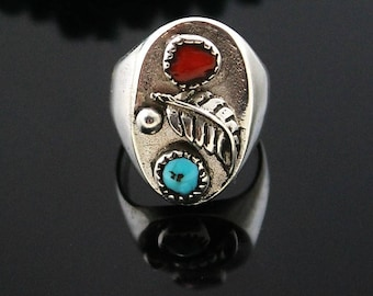 Navajo Cast Sterling Turquoise and Coral Ring