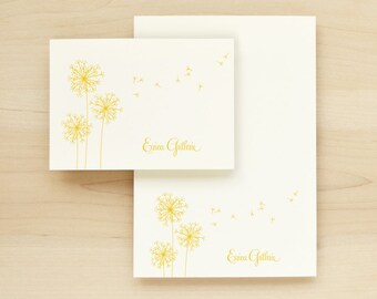 BREEZE Custom Stationery + Notepad Bundle - Custom Stationary Notecards Personalized - Dandelion Flower Pretty Cute