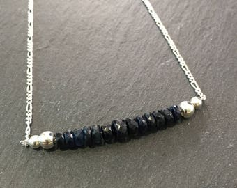 Gemstone bar necklace, Sapphire necklace, something blue, september birthstone, anniversary gift, birthday gift, birthstone necklace, dainty