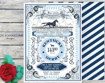 Kentucky Derby Invitation- Kentucky Derby Party- Horse Invitation-Horse Party- southern party ranch party-rustic -blue-printable invitation-