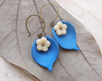 Blue White Leaf Earrings Resin and Glass Floral Jewelry