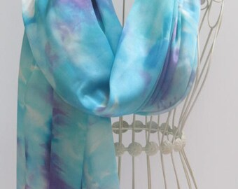 Unique hand painted silk scarf, hand painted silk scarves, blue scarf, scarf,unique gift scarf, gift for her, gift scarf,  Silk scarf, scarf