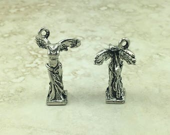 Winged Victory of Samothrace > Nike Greek Goddess Statue Sculpture Greece - American Made Lead Free Silver Pewter - I ship Internationally