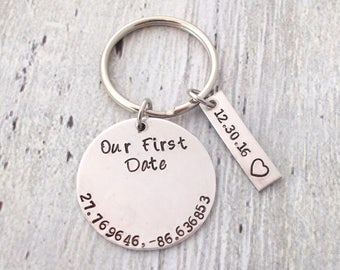 Our First Date Couples Coordinates Keychain, Couples Gift, Anniversary Gift, Gift For Boyfriend, Gift For Husband, Gift For Her, First Date