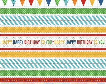 Stitched Birthday SCRAPBOOK PAPER / 4 Sheets / Bright colors / 12 x 12 inches