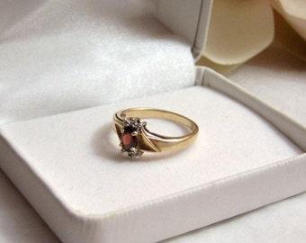 Garnet & Diamond Ring 10K SOLID Gold Authentic Vintage Artisan Altered Restored Genuine Gemstone