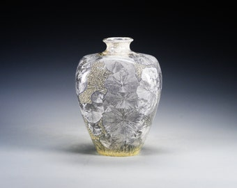 Ceramic Vase - Gray - Crystalline Glaze on High-Fired Porcelain - Hand-Made Pottery - SHIPPING INCLUDED  - #B-5163