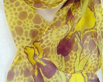 silk scarf hand painted chiffon Iris Filigree gold purple unique long wearable art women fashion accessory