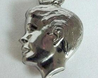 Silhouette of a Boy Charm Vintage  Puffy Sterling Silver
