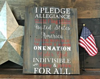 Pledge of Allegiance - Pledge of Allegiance Sign- Patriotic Sign - Patriotic Decor - American Sign - Military Decor - 4th of July