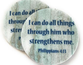 Philippians 4:13 Car Coasters - Two super absorbent car coasters for your cars cup holder - Free Shipping - Bible Verse Cup Holder Coasters