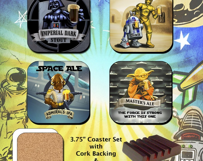 Star Wars / Darth Vader / R2D2 / C3PO / Yoda / Admiral Akbar / Coaster Set