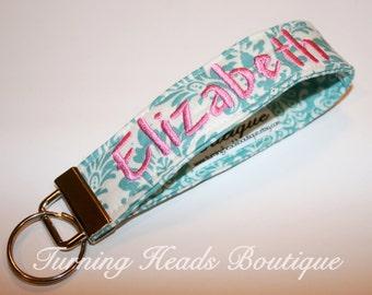 Monogrammed Fabric Key Fob / Personalized Key chain /   Fabric Wristlet Keychain