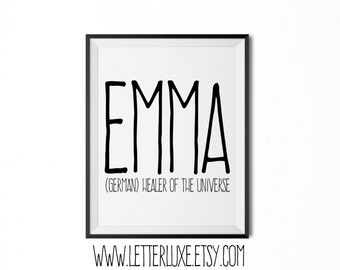 Emma Name Meaning Art - Printable Baby Shower Gift - Nursery Printable - Definition Digital Print - Nursery Decor - Typography Wall Decor