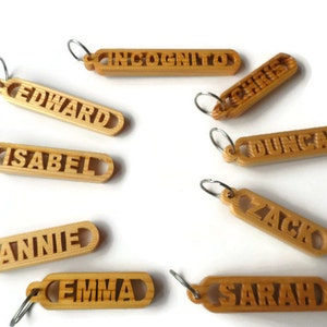 Personalized Name Keyrings, Wooden Keyrings, made from Spruce finished in linseed oil coated with a protective coat of lacquer