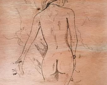 woodburned woman portrait