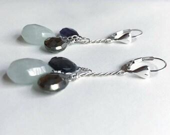 Aquamarine, iolite, and pyrite earrings