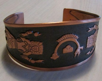 Copper Cuff Bracelet with Buffalo Dancer and Rainbow Yei Design