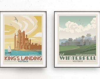 Set of two retro travel poster. Game of thrones illustration. Poster TV show GOT. Stark. Lannister. Daenerys Targaryen. Arya Stark. Jon Snow
