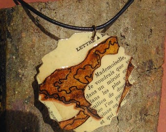 Aspen Leaf Book Paper Art Pendant Leather Necklace Natural Rust Collage Forest Beauty French Literature Shabby Chic Unique Nature Lover Gift