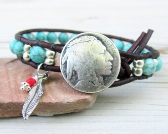 Indian Head Nickel Turquoise Leather Wrap Bracelet, Boho Leather Wrap Bracelet, Eagle Feather, Boho Jewelry, Native American Bracelet