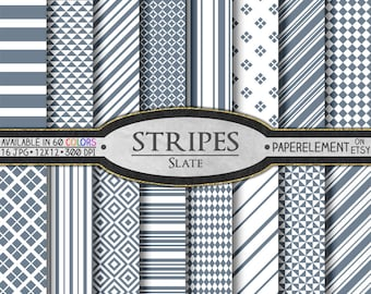 Slate Striped Digital Paper Pack - Instant Download - Stripes and Diamond Patterned Paper for Digital Scrapbooking