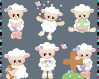 Easter Sunday Lilly Lamb - Instant Download - Commercial Use Digital Clipart Elements Set